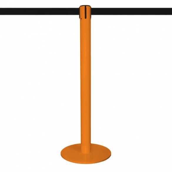 Absperrpfosten mit Gurt 2,5m - Orange lackiert - MASTER