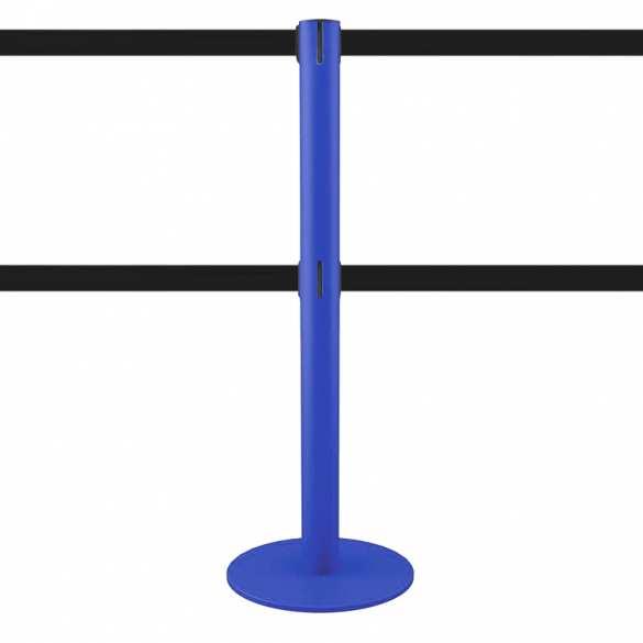 Afzetpaal dubbel afzetlint blauw