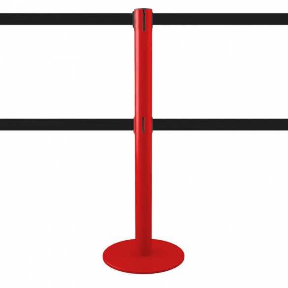 Absperrpfosten mit 2 Gurte 2,5m (rot, anpassbar) - MASTER DUAL