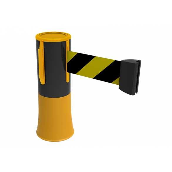 Enrouleur de sangle pour plots de signalisation de chantier (Jaune et noir)