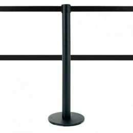 Poteau de balisage double sangle 2,5 mètres (noir) - MASTER DUAL