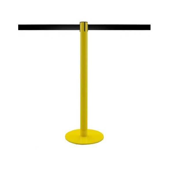 Afzetpaal geel met uittrekbaar lint